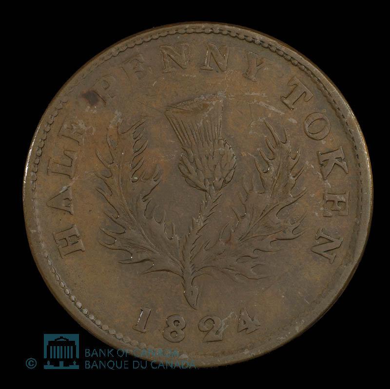 Canada, Province de la Nouvelle-Écosse, 1/2 penny : 1824