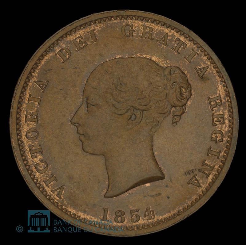Canada, Province du Nouveau-Brunswick, 1/2 penny : 1854