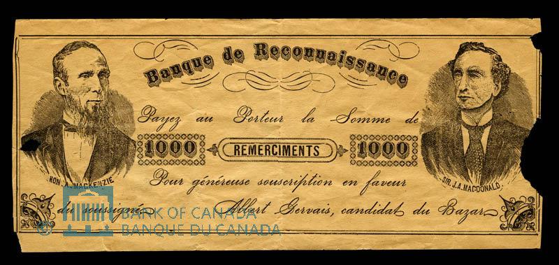 Canada, Albert Gervais, 1,000 remerciements : 1895
