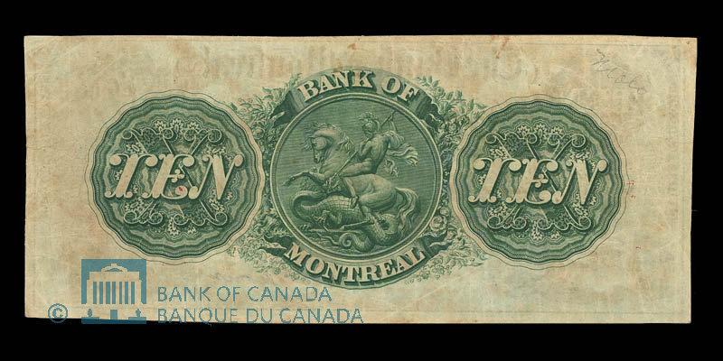 Canada, Banque de Montréal, 10 dollars : 3 janvier 1859