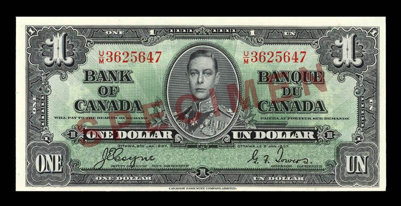 Canada, Banque du Canada, 1 dollar : 2 janvier 1937