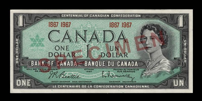 Canada, Banque du Canada, 1 dollar : 1967