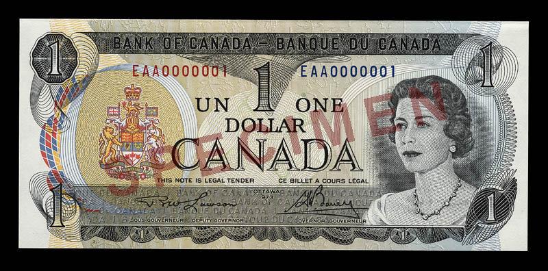 Canada, Banque du Canada, 1 dollar : 1973