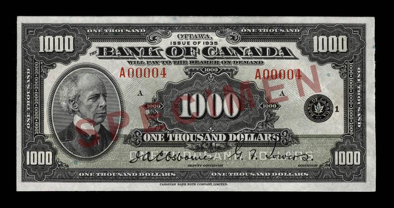 Canada, Banque du Canada, 1,000 dollars : 1935