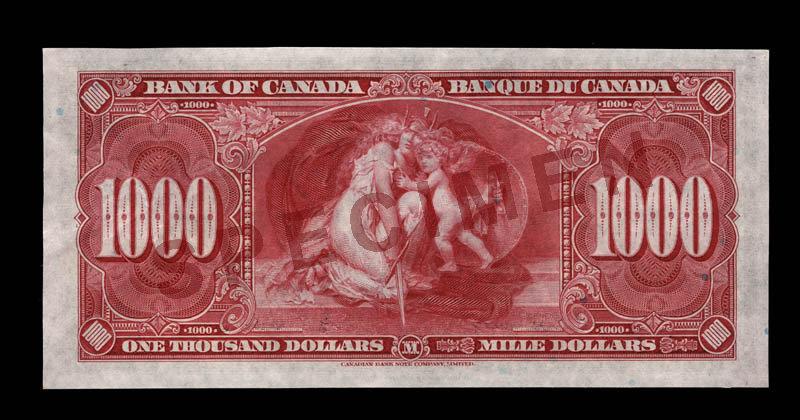 Canada, Banque du Canada, 1,000 dollars : 2 janvier 1937