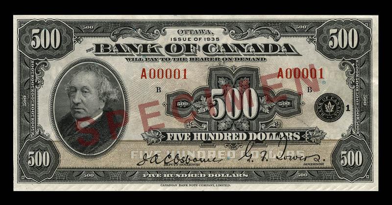 Canada, Banque du Canada, 500 dollars : 1935