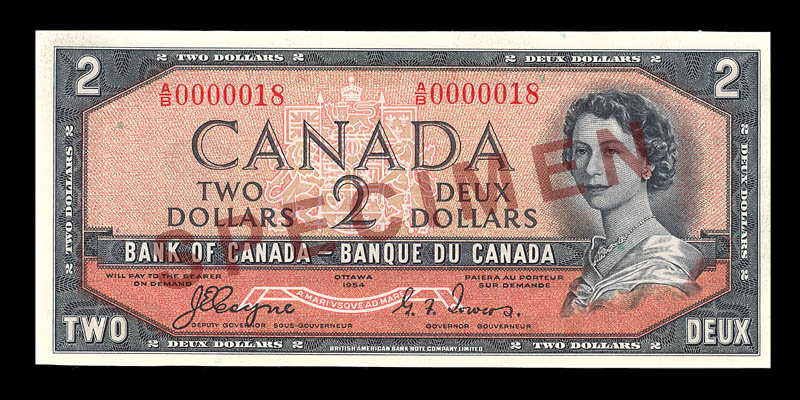 Canada, Banque du Canada, 2 dollars : 1954