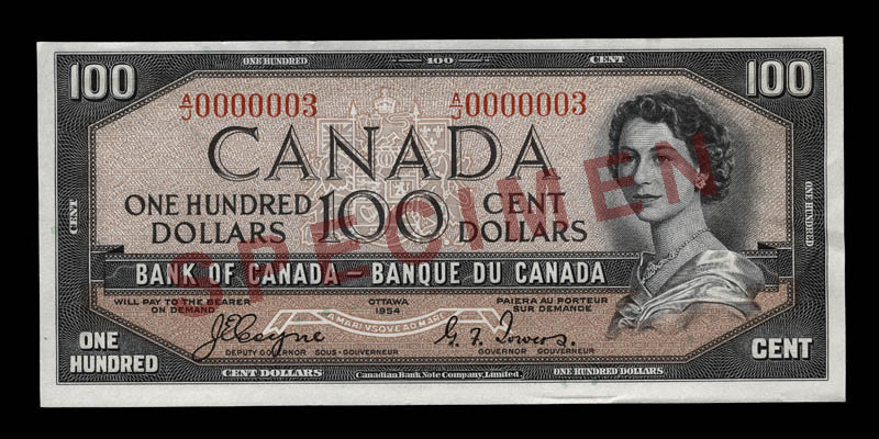 Canada, Banque du Canada, 100 dollars : 1954