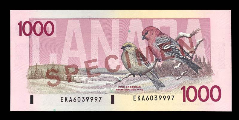 Canada, Banque du Canada, 1,000 dollars : 1988