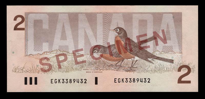 Canada, Banque du Canada, 2 dollars : 1986