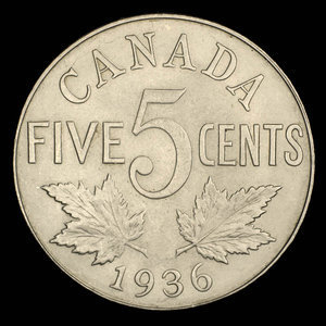 Canada, Georges V, 5 cents : 1936