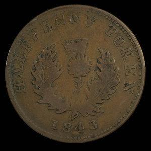 Canada, Province de la Nouvelle-Écosse, 1/2 penny : 1843