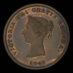 Canada, Province du Nouveau-Brunswick, 1/2 penny : 1843