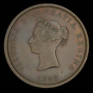 Canada, Province du Nouveau-Brunswick, 1 penny : 1843