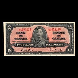 Canada, Banque du Canada, 2 dollars : 2 janvier 1937