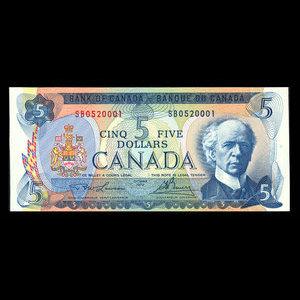 Canada, Banque du Canada, 5 dollars : 1972