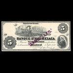 Canada, Banque d'Hochelaga, 5 piastres <br /> 1 septembre 1880