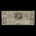 Canada, Agricultural Bank (Toronto), 4 dollars <br /> 1 octobre 1837