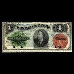 Canada, Dominion du Canada, 4 dollars <br /> 1 mai 1882