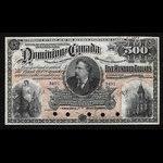 Canada, Dominion du Canada, 500 dollars <br /> 2 juillet 1896