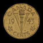 Canada, Georges VI, 5 cents <br /> 1943