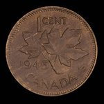 Canada, Georges VI, 1 cent <br /> 1945