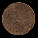 Canada, Georges VI, 1 cent <br /> 1946