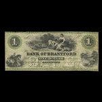 Canada, Bank of Brantford, 1 dollar <br /> 1 novembre 1859