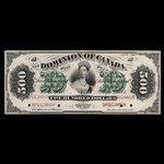 Canada, Dominion du Canada, 500 dollars <br /> 1 juillet 1871