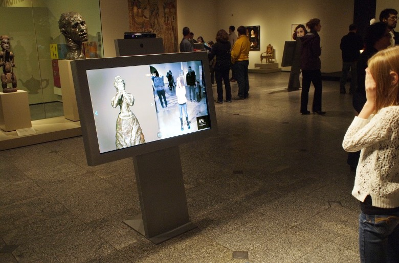 A young visitor's gestures are mapped by the camera and artwork produced