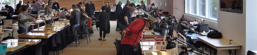 Salle où des gens installés à des tables vendent des pièces de monnaie et des billets de banque