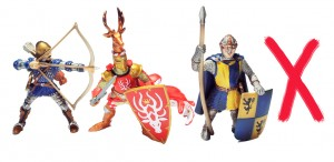 Jousting figures, out of the original box
