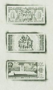 Esquisses au crayon d'images qui auraient pu orner des billets de banque
