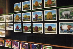 Stamps arranged by several themes horizontally and in columns of years