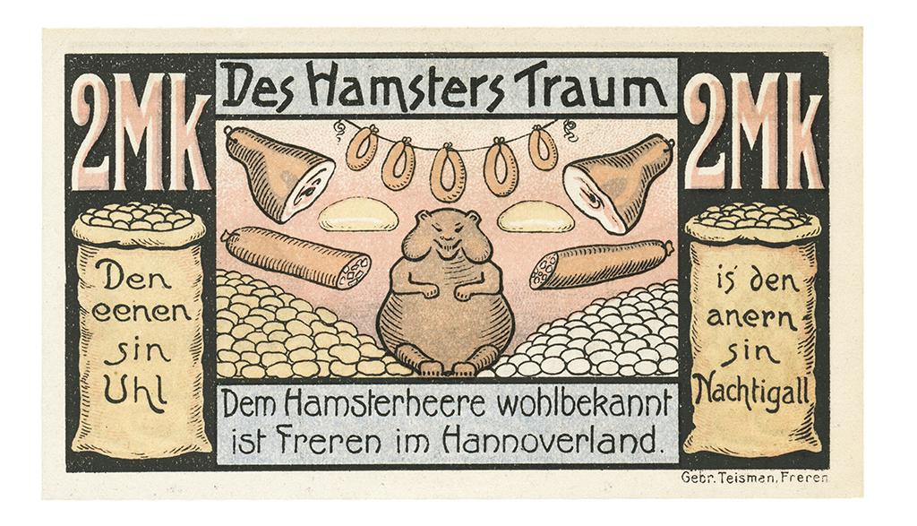 "Freren, Germany notgeld entitled ""The Hamster Dream"" is social satire at its best"