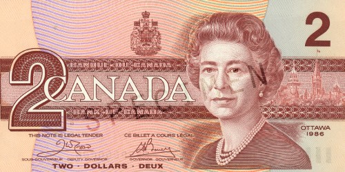 Birds of Canada Series $2 Note - Front