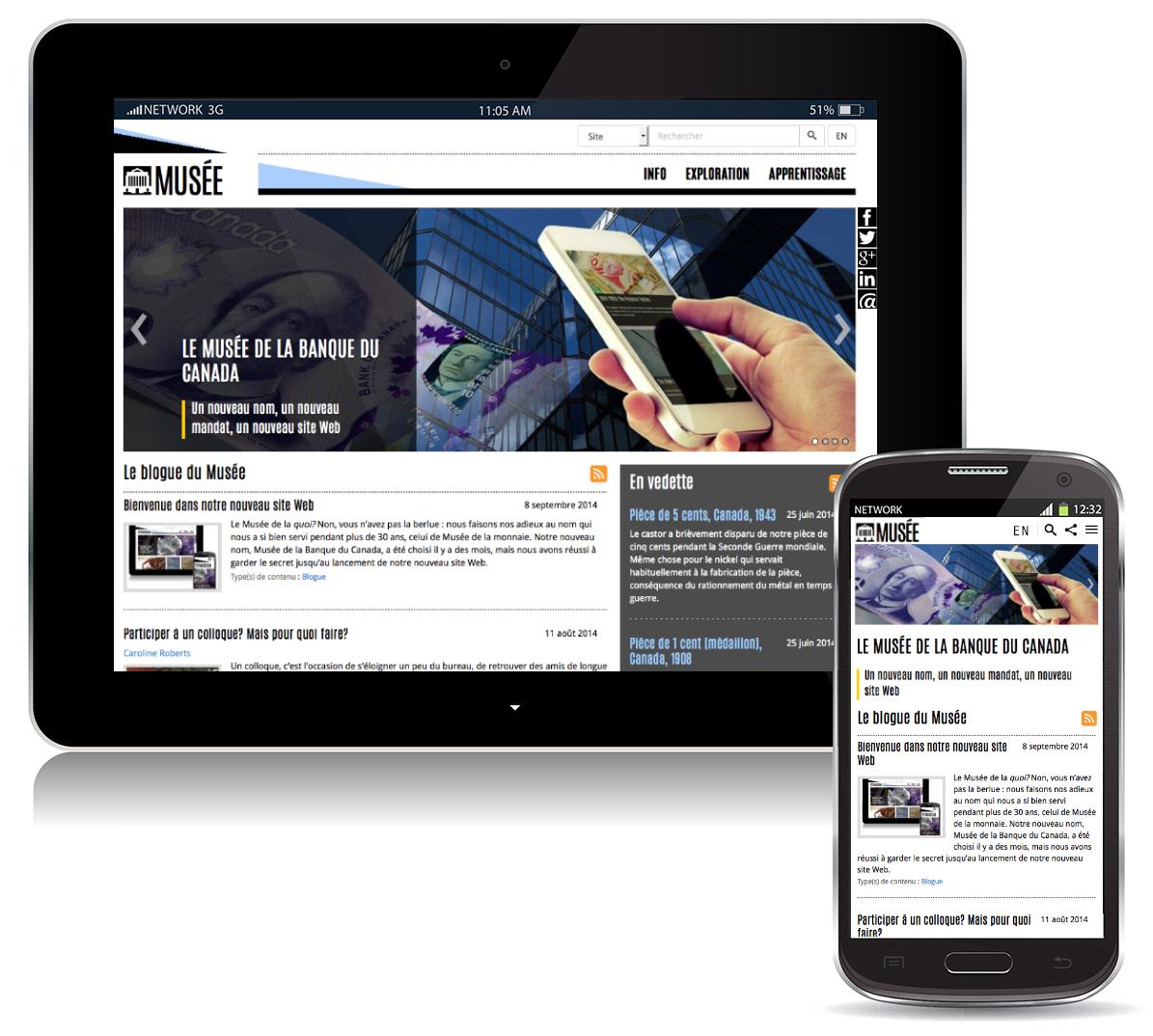 """""""Le terme « interface adaptative » signifie que le contenu du site s'ajuste automatiquement à l'appareil utilisé pour le consulter."""