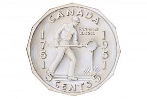 Représentation d'un métallurgiste sur une pièce de monnaie