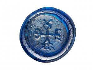 disque en verre bleu