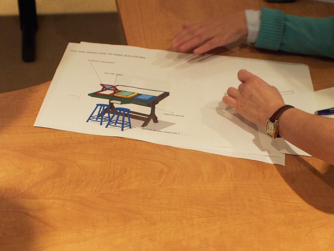 Dessin technique d'une station en forme de table