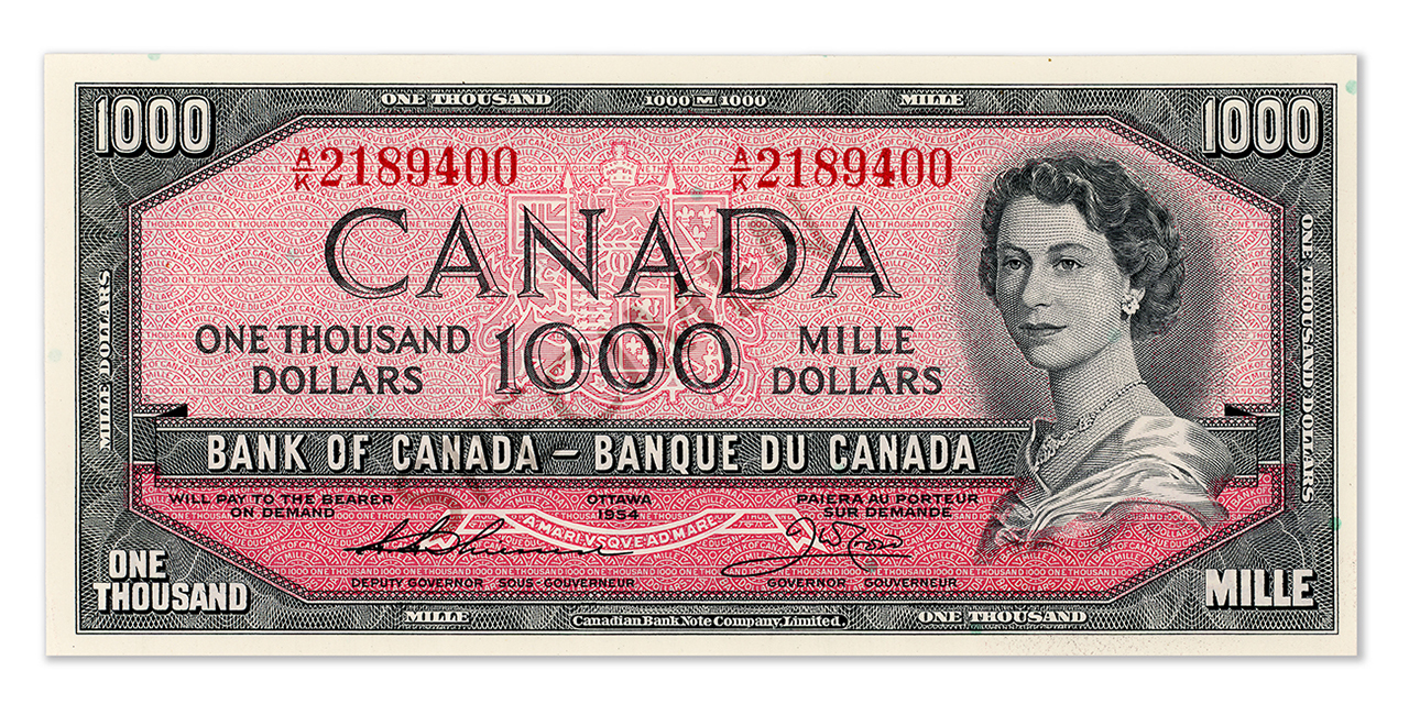 Recto du billet de 1 000 $