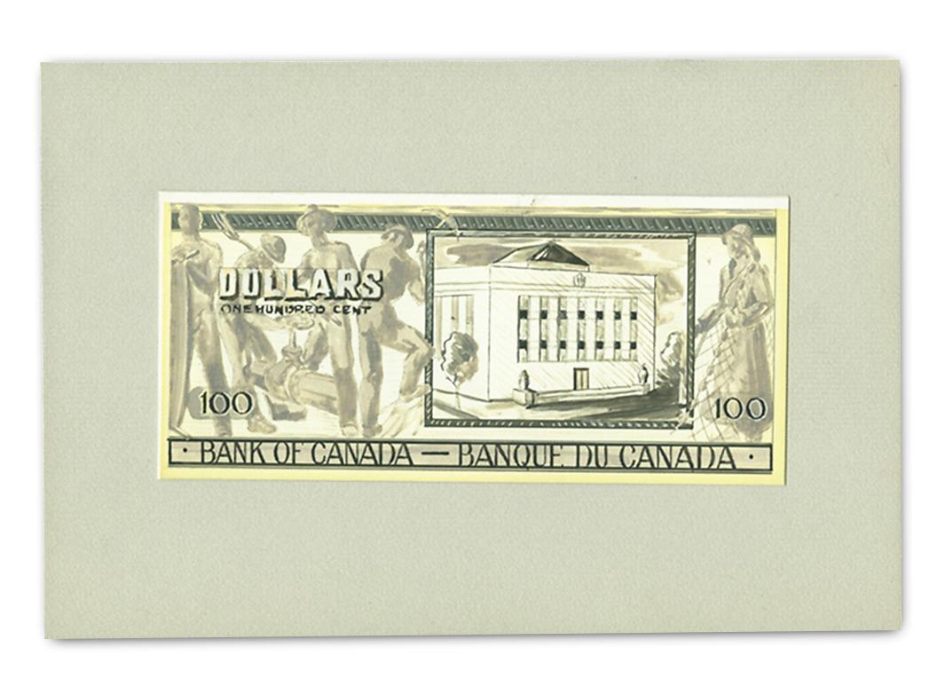 Esquisse du verso d'un billet de 100 dollars