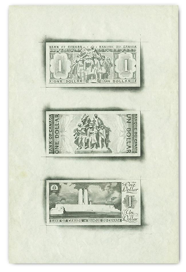 Trois esquisses de billets de banque