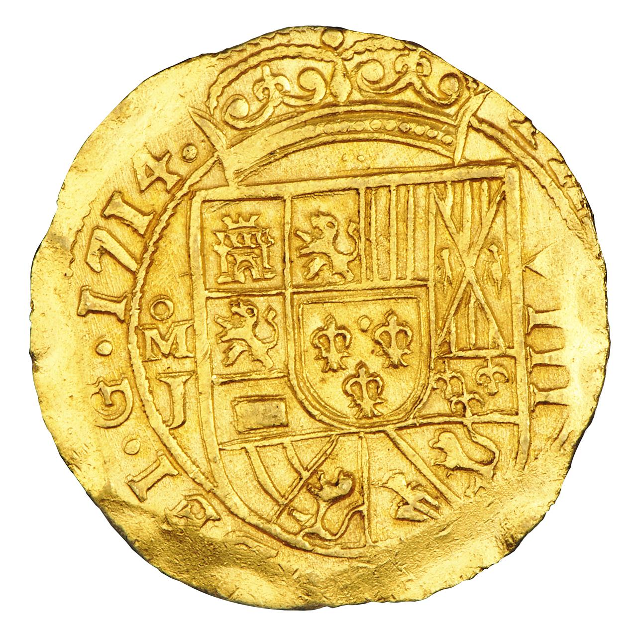 pièce d'or avec un bouclier espagnol en relief