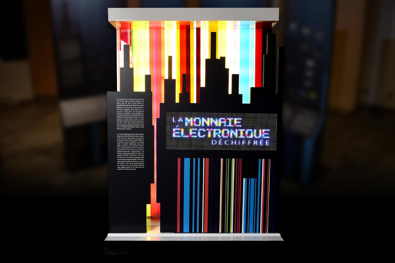 panneau multicolore où apparaît un texte animé