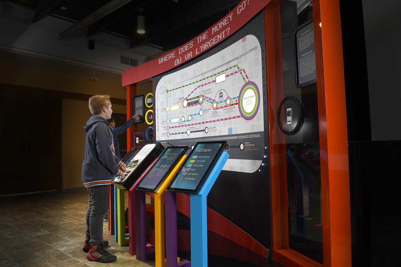 garçon se tenant devant des écrans tactiles et une grande carte des itinéraires