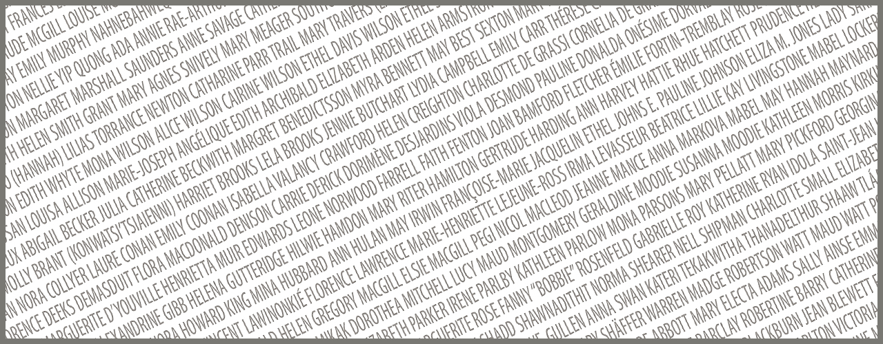 image représentant des dizaines de noms de Canadiennes d'importance historique