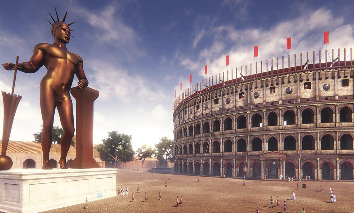 animation du Colisée de Rome mettant en vedette la statue de Néron