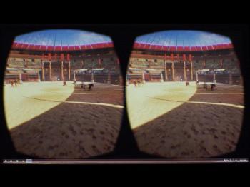écran montrant deux images du Colisée de Rome qui permettent de former une seule image en 3D