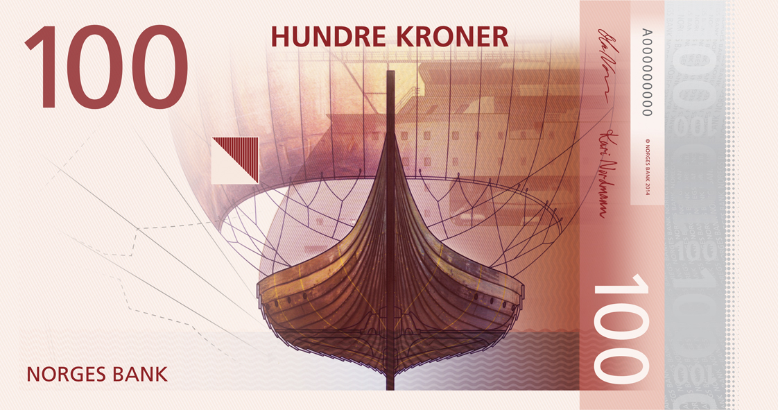 billet de banque orné d'un navire viking
